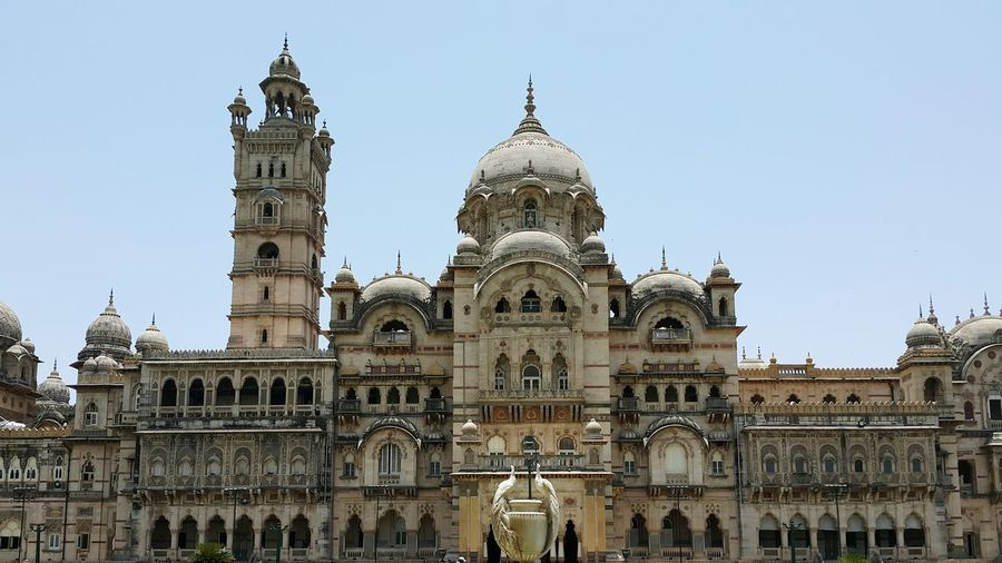 Low Angle View Of Laxmi Vilas Palace Against Clear Sky