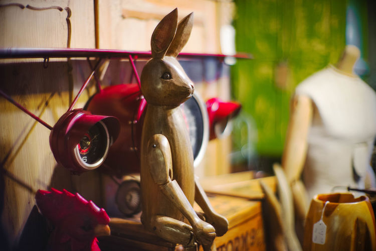 Plane Animal Themes Antiques Bedroom Bunny  Close-up Focus On Foreground Indoors  Nostalgia Rabbit Toy Wooden Toy