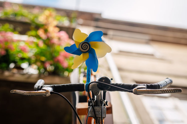 Close-up of toy bicycle