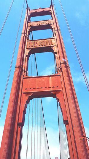 San Francisco Bay Bridge Low Angle View Built Structure Tourism Famous Place Bridge - Man Made Structure Suspension Bridge Travel Destinations Architecture Sky Outdoors Travel On The Road On The Move San Francisco