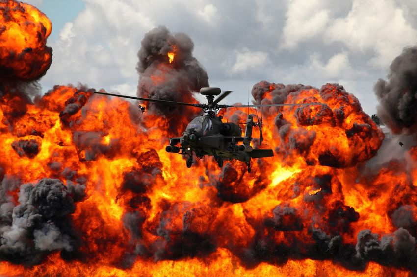 Accidents And Disasters Apache Helicopter Burning Danger Day Farnboroughairshow Fire - Natural Phenomenon Firefighter Flame Full Length Heat - Temperature Inferno Military Outdoors People Rescue Smoke - Physical Structure Spraying Urgency
