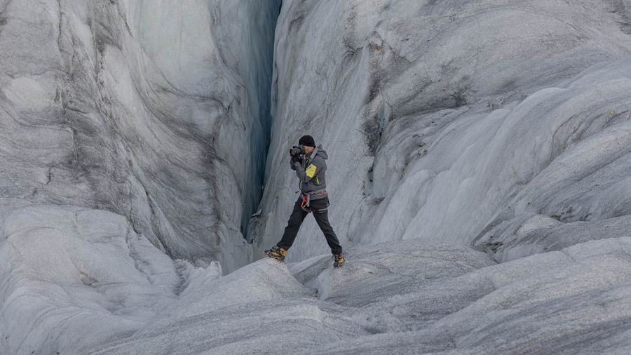 Full length of person on glacier