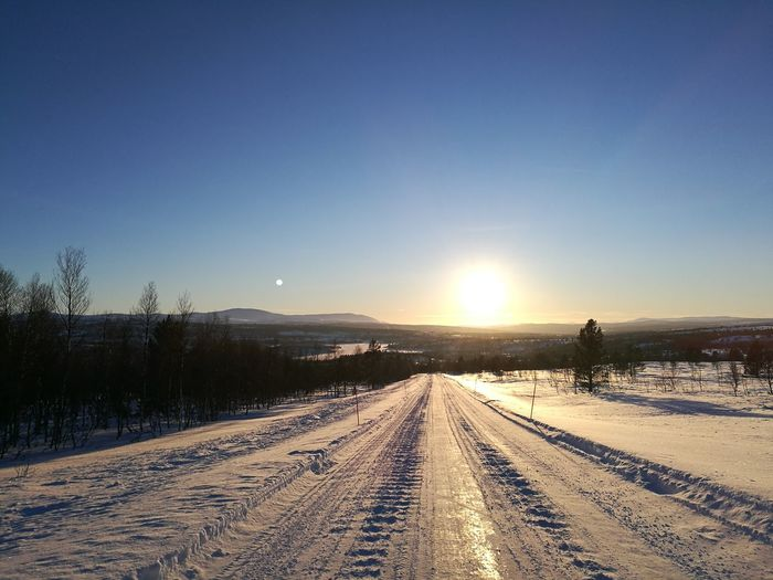 Norway Røros Olavsgruva Cold Temperature Outdoors Sunset Winter Snow Clear Sky Beauty In Nature Landscape Nature The Way Forward Road Sky First Eyeem Photo