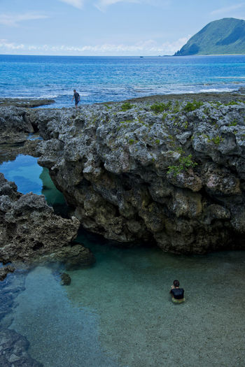 The special cold spring in Lanyu (Orchid Island ), Taiwan ASIA Beautiful Islands Nature Orchid Taiwan Travel Wave Background Beauty Blue Cold Cold Spring Landscape Lanyu Ocean People Sea Seep Sky Spring Stone Summer Swim ıslands