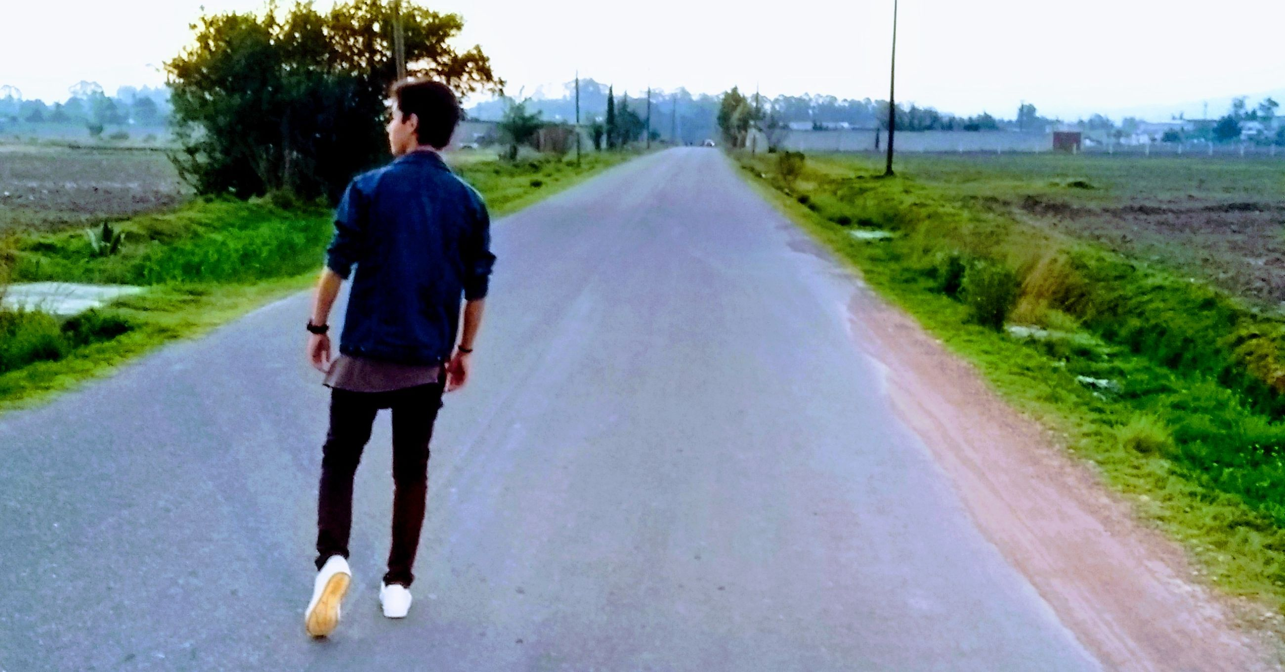 the way forward, road, walking, real people, full length, rear view, casual clothing, lifestyles, transportation, day, leisure activity, young adult, men, one person, outdoors, grass, nature, sky, adult, people