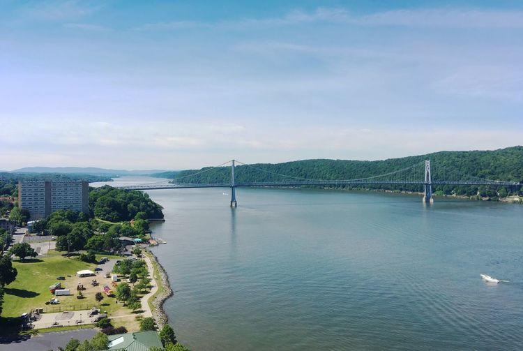 Scenic view of mid-hudson bridge over river against sky