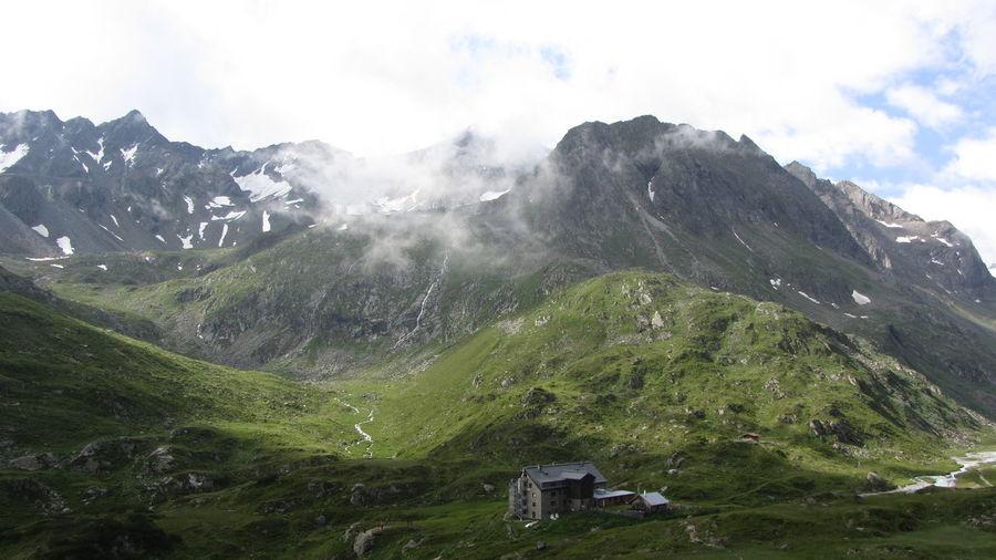 Franz Senn Hütte Beauty In Nature Day Landscape Mountain Nature No People Outdoors Peak Range Scenery Scenics Sky Stubaital
