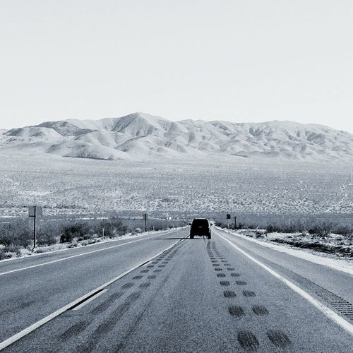 Typical commute from the city // Desert Desert Life Desertroad Black And White B&w Photography Roadtrip California