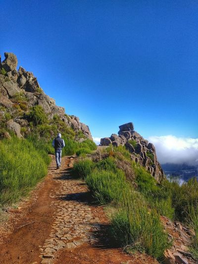 Rear View Of Hiker Walking On Mountain Trail Against Blue Sky