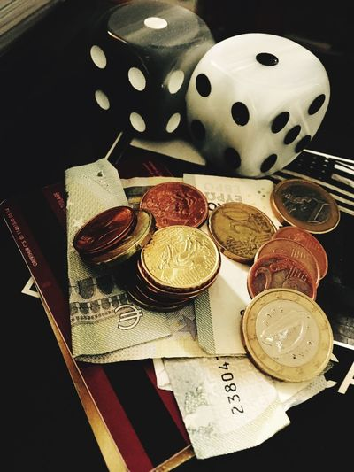 Still Life High Angle View Indoors  Table Coin No People Art And Craft
