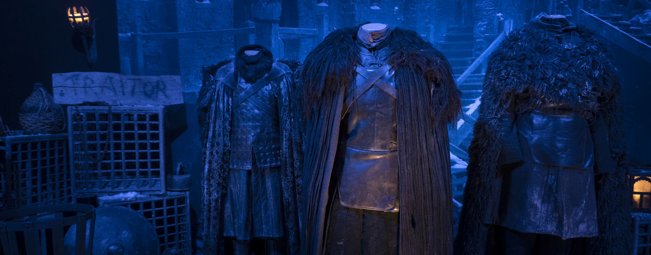 Game Of Thrones Game Of Thrones Exhibition HBO Night Watch John Snow Custome North The Wall Night Celebration Blue Indoors  Illuminated People Adults Only