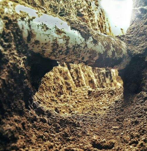 Mole trails Tunnels Pipe Digging Hole Ditch Drainage Angles Construction Watermain