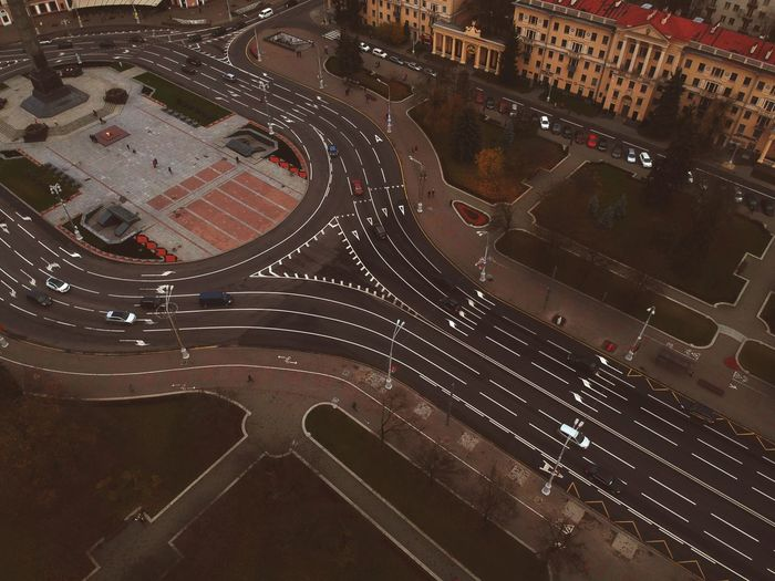 High Angle View City Motor Vehicle Car Transportation Architecture No People Street Cityscape Aerial View Building Exterior Day City Street City Life Outdoors Road Built Structure Mode Of Transportation Land Vehicle