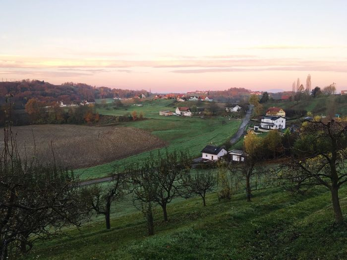 Autumn Austria Styria Sky Sunset Landscape Environment Field Plant Scenics - Nature Land Nature Beauty In Nature Agriculture No People Tranquil Scene Rural Scene Farm Tranquility Tree Green Color