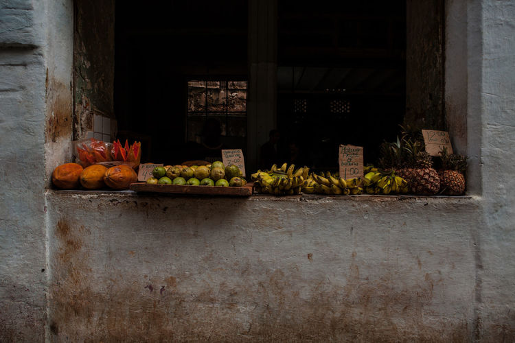 Fruits on window sill at shop