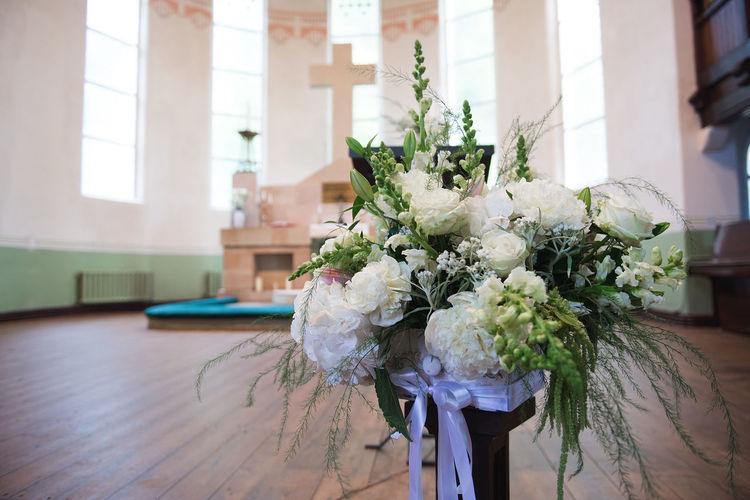 Flower arrangement at church
