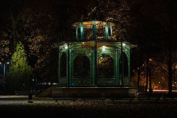 Park at night Night Illuminated No People Outdoors Christmas Vacations Tree Sky Park Beauty In Nature Bandstand Nightphotography