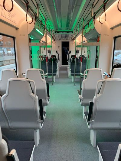 View of empty seats in train