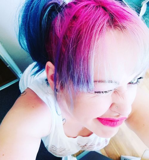 Only Women Hairstyle Rainbow Colors Rainbow Colours Rainbowhair Rainbowhaircolors JustMe Grimace Kissfromfrance