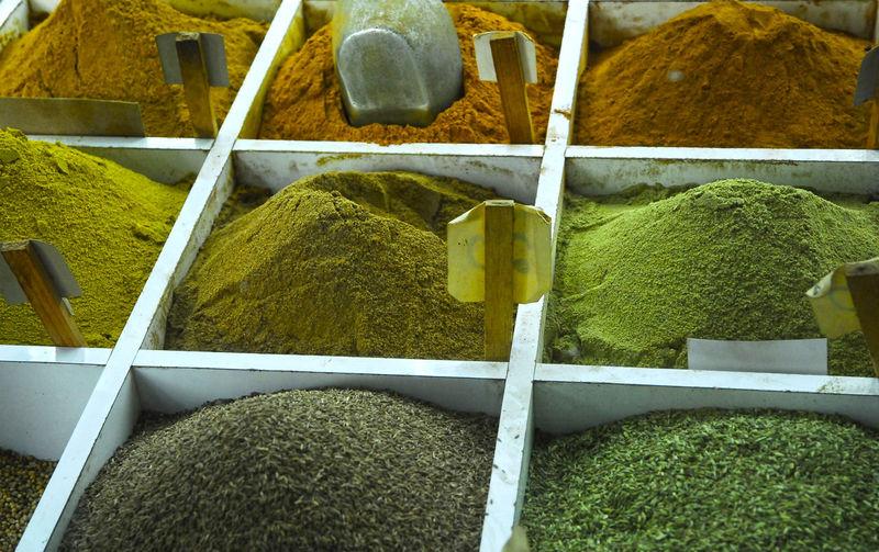 Full frame shot of spices at market stall