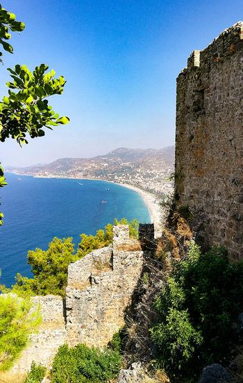 Alanya Turkey Sea Summer Holiday Traveling Beach High Angle View Fortress