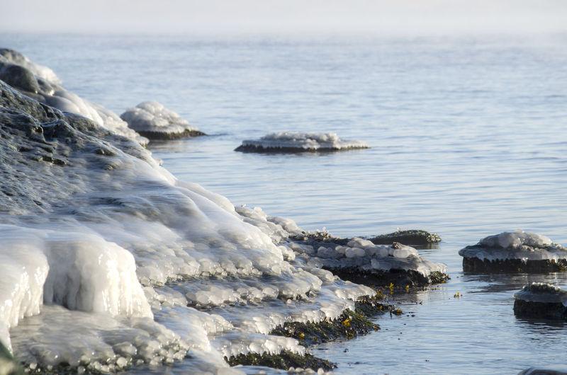 Frozen rocks by sea during winter
