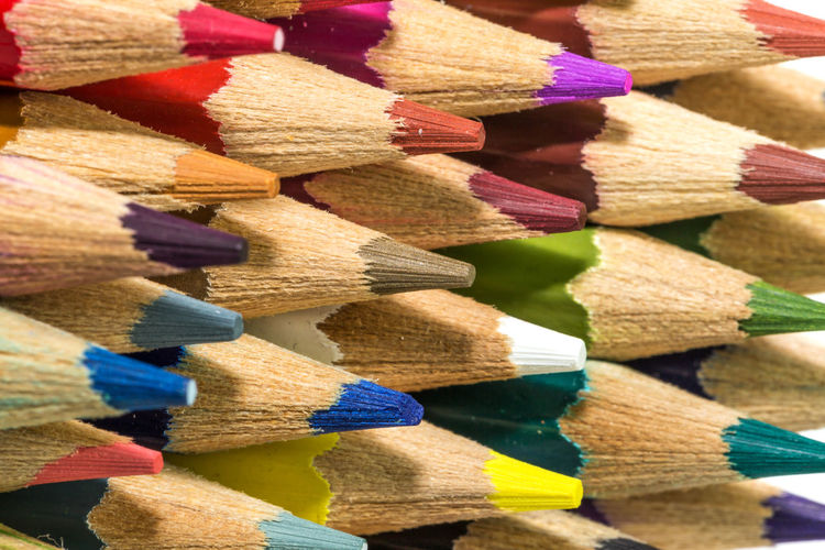 Full frame shot of colored pencils
