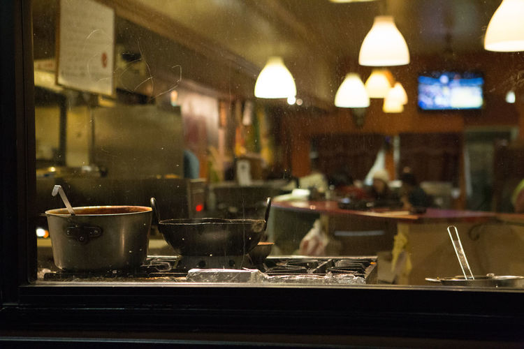 Inside of a kitchen Cook  Cooking Cozy Kitchen Night Pots Restaurant Restaurant Worker San Francisco Food And Drink Business Focus On Foreground Commercial Kitchen Glass