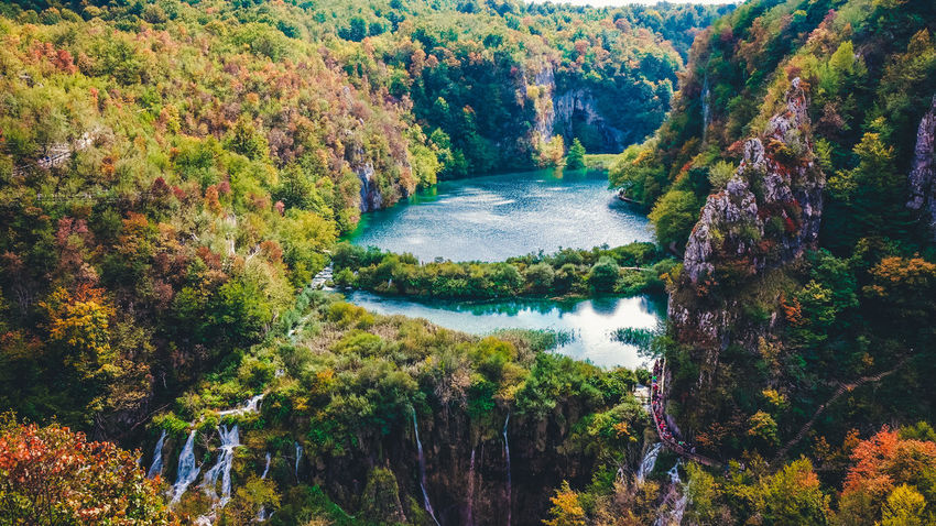 Aerial view of a track at Plitvice Lakes National Park Aerial Shot Autumn Nature Nature Photography Plitvice Lakes National Park Trees Aerial View Greenery High Angle View Lake Lake View No People Non-urban Scene Outdoors Plitvice Plitvice National Park Plitvicelakes Scenics - Nature Tranquil Scene Water