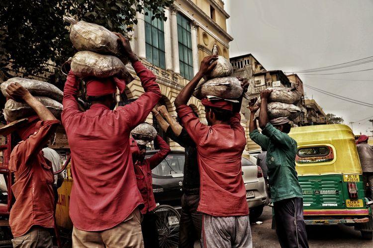 City Togetherness Men Sky Market Vendor Over-burdened Street Market Bazaar