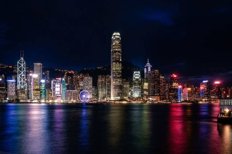 Building Exterior Architecture Built Structure Night City Illuminated Water Building Waterfront Office Building Exterior Skyscraper Reflection Sky Urban Skyline Landscape Cityscape Tower River Modern Outdoors Financial District  Nightlife Bay HongKong