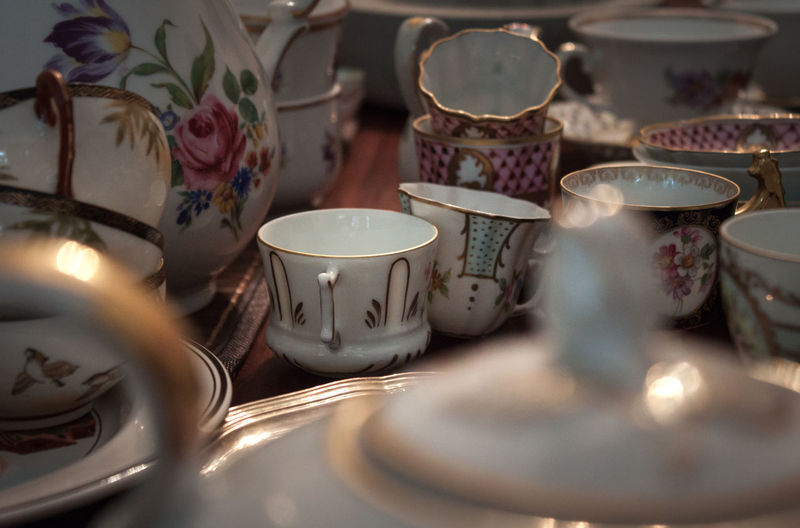 Abundance Arrangement Bequest Close-up Coffee Pot Container Crockery Cup Dishes Floral Pattern Focus On Foreground Golden Heritage Large Group Of Objects Legacy Memories Memory No People Old Ornamentation Selective Focus Still Life TeaCup Vintage