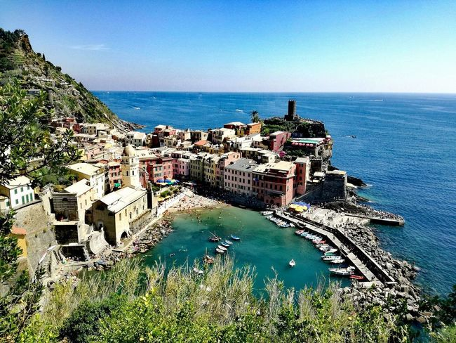 Sea Water Horizon Over Water High Angle View Architecture Building Exterior Built Structure Beach Outdoors Day History Nature No People Blue Sky Clear Sky Cinqueterre Italy