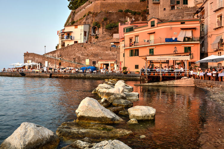Amalfi Coast Italy Old Harbor Pier Sunset Vacations Travel Harbor Water Sorrento, Italia