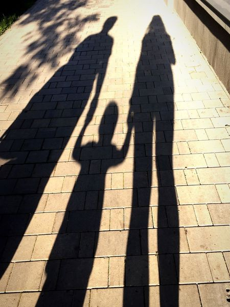 Shadow Sunlight Focus On Shadow Long Shadow - Shadow High Angle View Real People Togetherness Lifestyles Outdoors People Family Family Matters Children