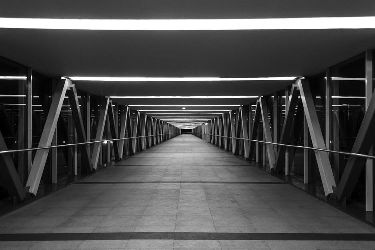 Illuminated Empty Elevated Walkway