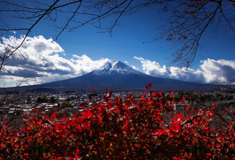 Autumn EyeEmNewHere Japan Travel Traveling Beauty In Nature Cloud - Sky Cold Temperature Day Environment Landscape Mountain Mountain Peak Mountain Range Nature No People Outdoors Plant Scenics - Nature Sky Snow Snowcapped Mountain Travel Destinations Volcano