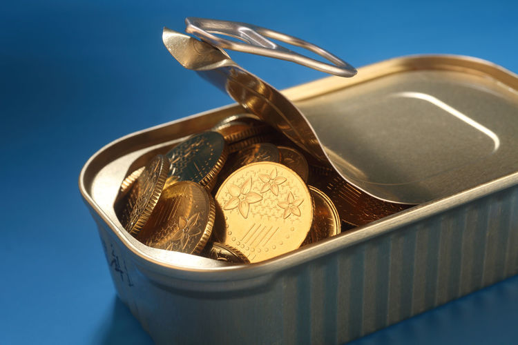 coins in the sardine can Golden Growth Market Paying My Respects Sardine Can Stack Treasure Canned Cash Coin Concept Group Heap Investment Large Group Of Objects Many Metal Money Payment Pile Prize Success Tin