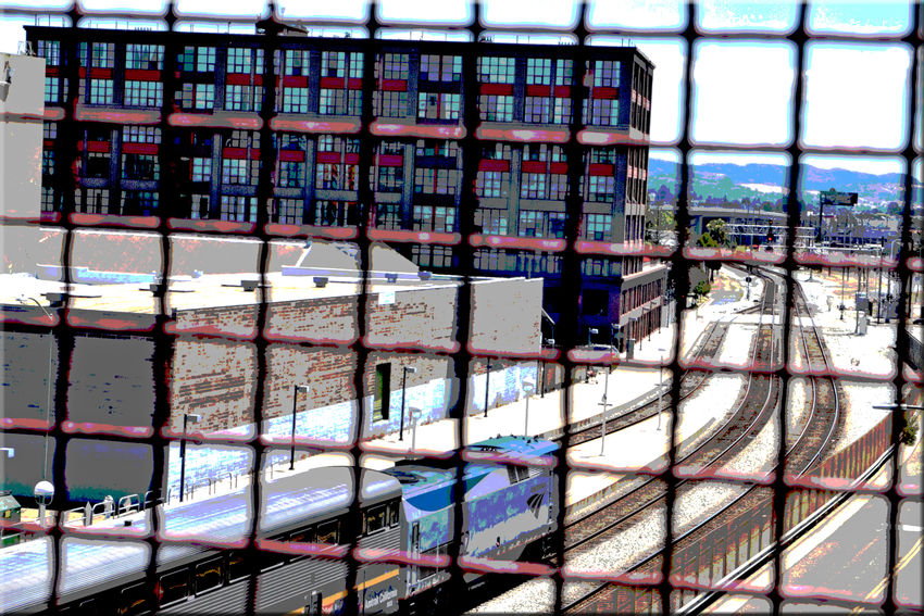 Train Station Catwalk 9 Jack London Square Port Of Oakland, Ca. Union Pacific Railroad Overpass Overpass View Tracks Amtrak Train Passenger Train Engine Railroad Warehouses Office Building Posterized Effect Train Lovers Railroad _collection Railroad Photography