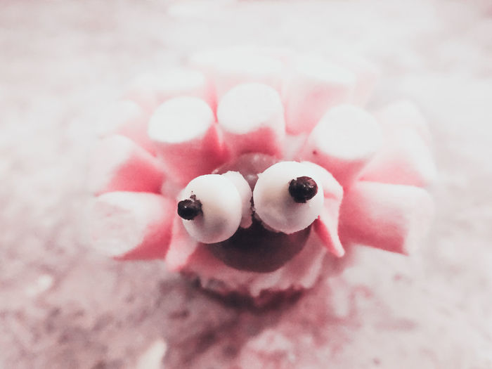 Close-Up Of Marshmallow Cupcake On Table