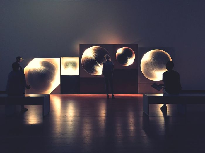 Illuminated ball in kitchen