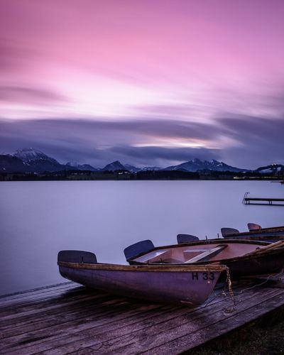 Hopfensee, Bavaria, Germany Germany Deutschland Visitgermany Alps German Alps Allgaeu Allgäu Bavaria Bavarian Landscape German Mountain View Sunrise Longexposure Long Exposure Lake Boat Boats Landscape Lake Sunset Purple Night Scenics No People Water Nature Mountain Beauty In Nature Sky Outdoors