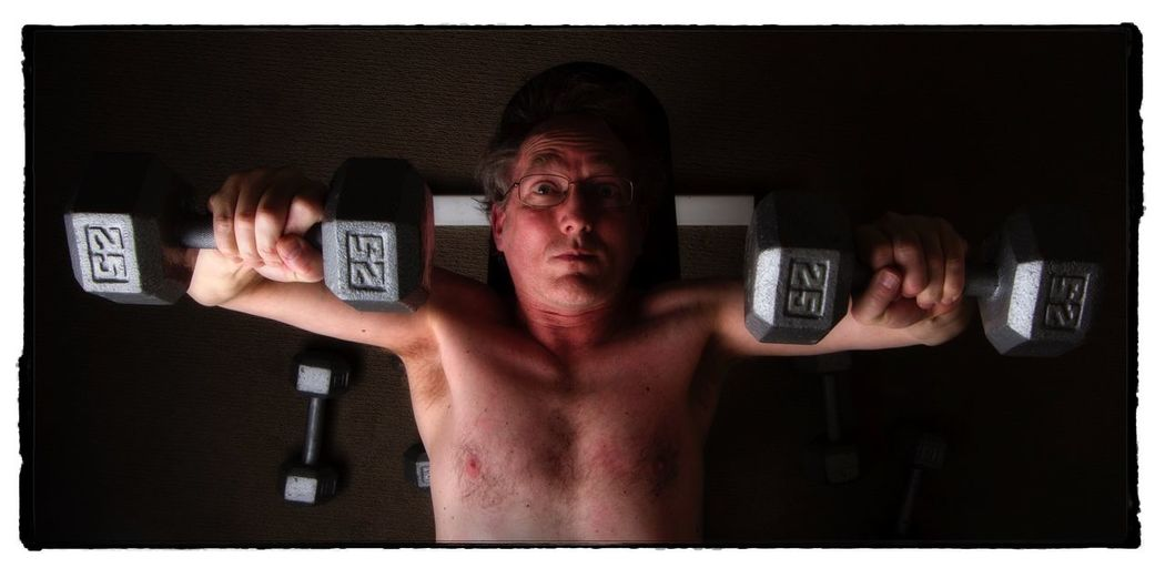 Sunday Self-portrait Series 5 No 3 - Pumping iron. Selfportrait Weightlifting Pumping Iron