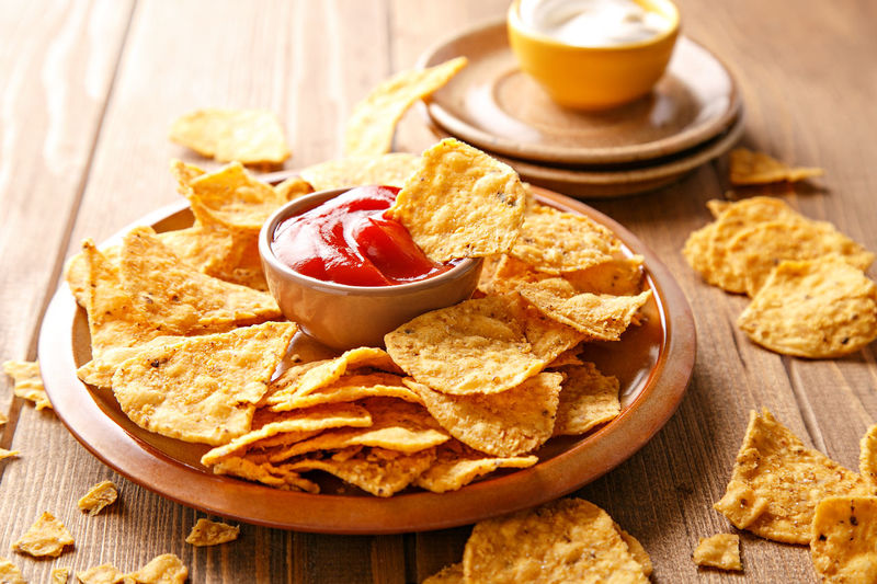 Close-up of tortilla chips served on plate