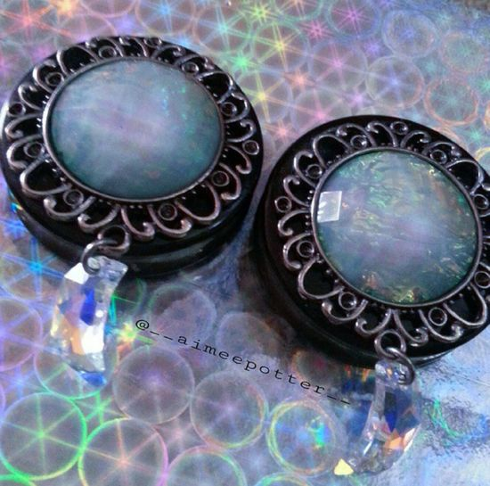 my plugs are so pretty, I will be posting more photos wearing them soon ♥ Plugs Moon Stretchedears Modification Rainbow Pretty Blue Alternative Holographic Cute