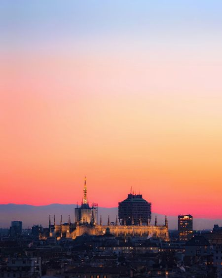 Architecture Sunset City Cityscape Travel Destinations Dusk Building Romantic Sky Cathedral Milano Gradient Gradiented Sky No People Building Exterior Citylights Clear Sky