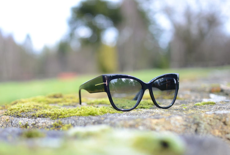 Close-up of eyeglasses on sunglasses