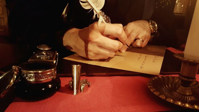 Human Hand Human Body Part Indoors  Restaurant Moscow Russia Cafe Pushkin Cafe Café Pushkin Writing Letter Ink Writing Ink Old Way Of Life Old Way Quill Quill Pen
