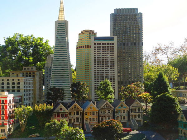 Architecture Building Exterior Building Story Built Structure City City Life Cityscape Development Financial District  Growth Legoland Miniature Modern Office Building Outdoors Painted Ladies San Francisco Skyline Sky Skyscraper Tall Tall - High Tower Transamerica Pyramid Tree Victorian Houses