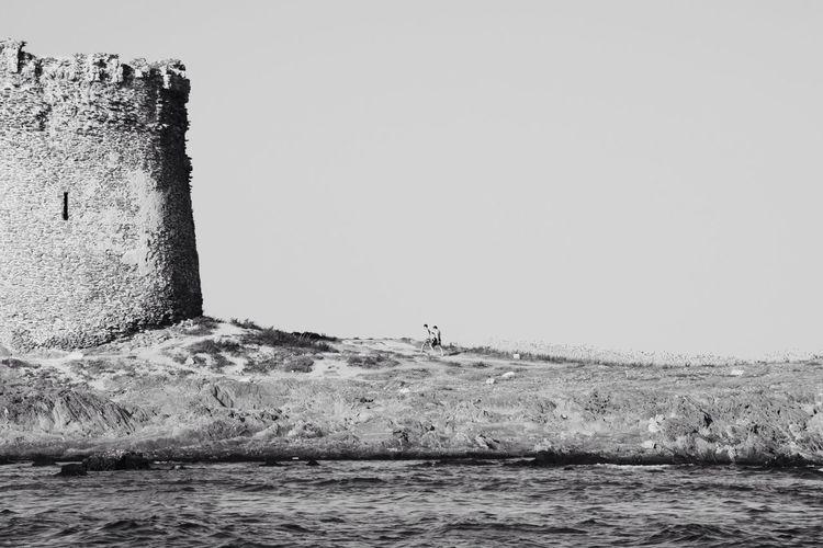 Taking the tower FUJIFILM X100S X100S Fuji X100s Blackandwhite Black And White Monochrome Castle Tower Sea VSCO